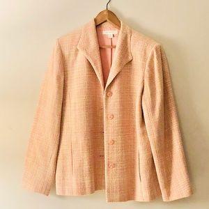 Appleseeds Women's Peach Silk Tweed Blazer- 18